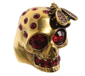 Alexander McQueen skull and bee cocktail ring, $280