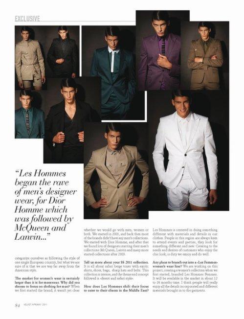 Les hommes in Velvet magazine Issue 2