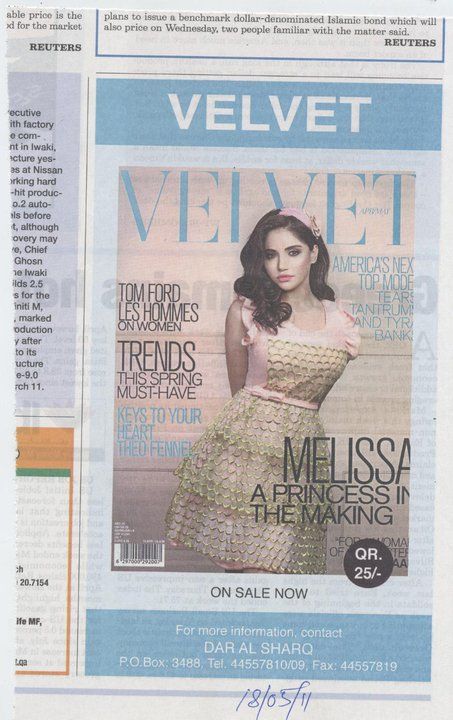 Velvet Magazine Issue 2- Advertisement in The Peninsula newspaper- Qatar